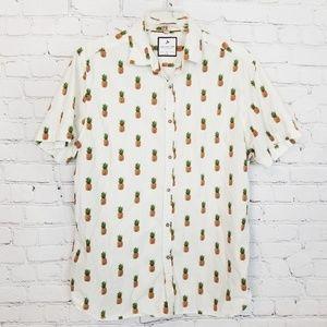 Denim & Flower|Pineapple Theme Button Down Shirt